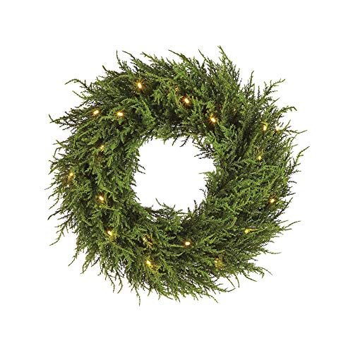 NOMA Pre-lit LED 24-Inch Cedar Artificial Christmas Wreath with Battery Operated Lights | 20 Warm White Bulbs | 217 Cedar Tips