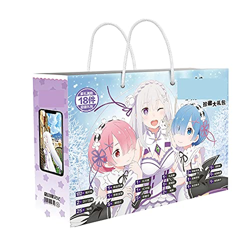 FUYUNLAI Re: Zero -Starting Life In Another World/Rem/Emilia/Gift Bag Anime/Mystery Box Items/Anime Peripheral/Postcards/Badges/Posters/Themed Collectibles/Best Anime Fans Birthday