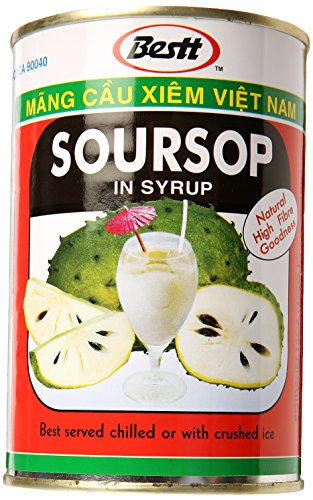 All Natural 100% Soursop Pulp in Syrup (Graviola Pulp Raw/uncut) - 15oz (Pack of 6)