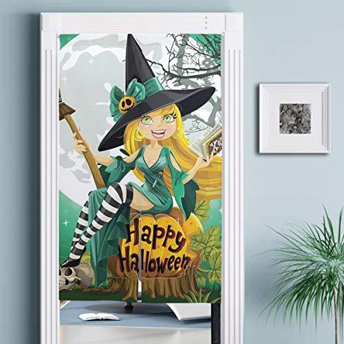 JISMUCI CortinasAlegre Sonriente nia Disfraz de Halloween en Calabaza Gigante Luna BosqueDecoracin del hogar para Cocina,Sala de Estar
