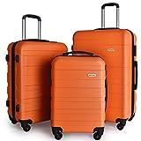 LuggageSetSuitcaseSet3PieceLuggageLightweightHardShellwith4RollingSpinnerWheelsWaterproofSuitcase (20inch,24inch,28inch)(Orange)
