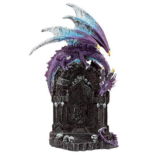 Puckator Gateway Guardians Dark Legends Drachenfigur, Kunstharz, Mehrfarbig, Höhe 24,5 cm, Breite 15 cm, Tiefe 11 cm