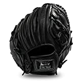 Franklin Sports Guante de béisbol para hombre adulto y juvenil, CTZ5000 guante de béisbol negro de piel de vacuno – 12 pulgadas cesta Web Infielders, jarras, negro cromado (22415)