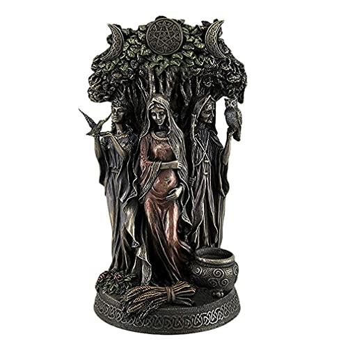 LXIUERH Resin Statues Danu Irish Triple Goddess of The Tuatha De Danann,Celtic Statue Sculpture,Cast Bronze Finish Statue Carved Sculpture Greek Religions Goddess Decors 6 X10.25 in