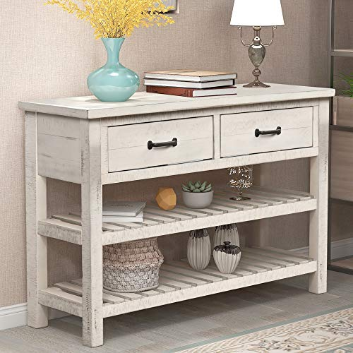 Sofa Table Retro Style Console Table for Entryway with 2 Drawers and Shelf Living Room Furniture (Antique White)