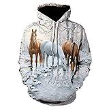 Sudadera con capucha con estampado de caballo 3D para hombre y mujer, estilo casual, estilo hip hop.
