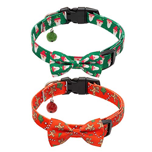 PAWCHIE Christmas Dog Collar with Bowtie and Bell, Comfortable Adjustable Collars Set for Small Medium Dogs, 2 Pack