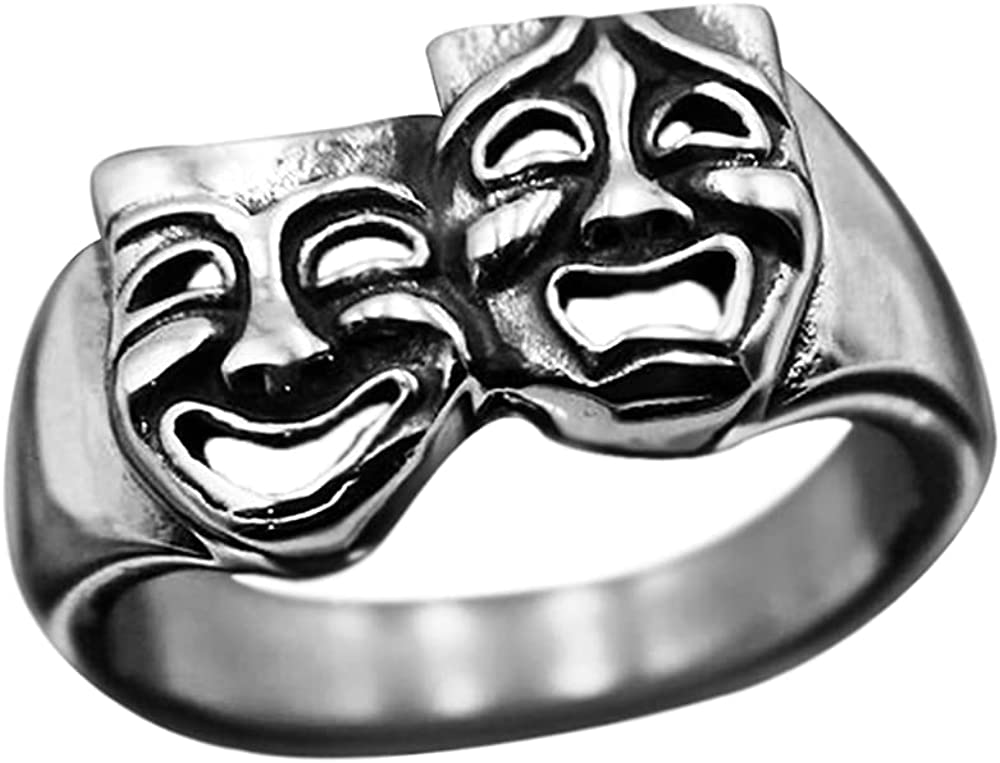 Personalized Tragedy Comedy Theater Mask Happy Sad Wide Statement Ring for Women Men Dainty Adjustable Finger Ring Girls Band Fashion Vintage Expandable Open Size Birthday Anniversary BFF Gifts