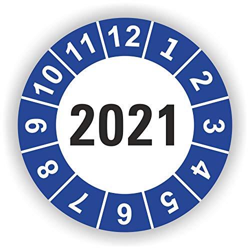 5-1.000 Stück Prüfplaketten Prüfetiketten Wartungsetiketten Jahresplakette 2021 Ø 20mm (Blau 30 Stück)