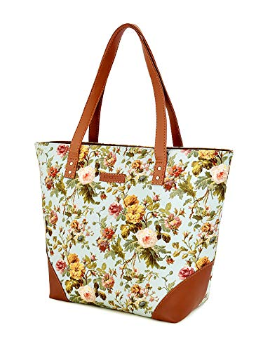 Lychee Bags Canvas Floral Printed Womens tote Bags (green)