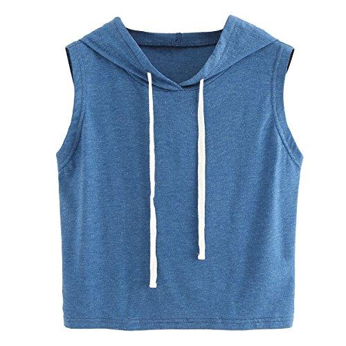 SweatyRocks Women's Summer Sleeveless Hooded Crop Tank Top T-Shirt Blue Large