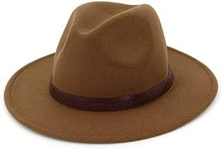 Fashion Women Men Wool Fedora Hat with Leather Ribbon Gentleman Elegant Lady Winter Autumn Wide Brim Jazz Church Panama Sombrero Cap` TuanTuan (Color : Coffee, Size : 56-58)