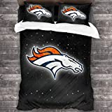 3 Piece Bedding Sets Denver Broncos Ultra Soft Bed Quilts Quilted Cover Sets with 1 Quilt Cover+2 Pillow Shams, Twin Size - 86'x70' Bed Set