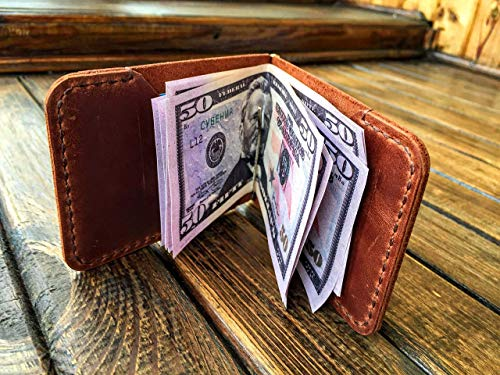 Mens Leather Money Clip Wallet - Ultra Slim Credit Card Holder - Minimalist Bifold Design Front Pocket - Handmade Crazy Horse Full Grain Distressed Leather Vintage Casual