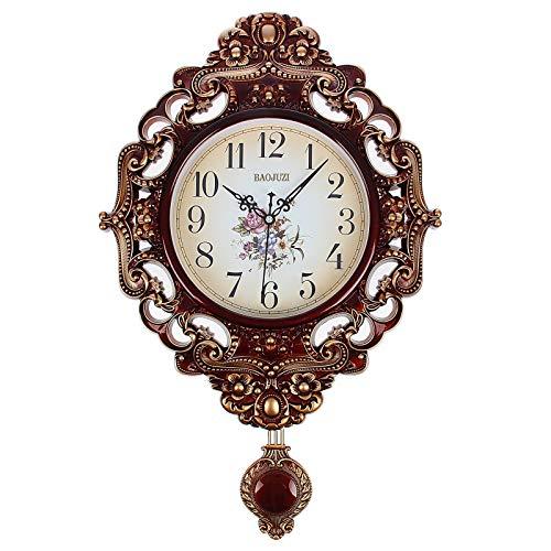Compar Wanduhr Kamilla Uhr mit Pendel OVAL Barock Antike Quarz Glas Wohnzimmer arabische Ziffern BRAUN Gold Blumen