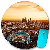 KAPANOU ラウンドマウスパッド カスタムマウスパッド、ロサンゼルスカリフォルニアドジャースタジアムシティアーバン、PC ノートパソコン オフィス用 円形 デスクマット 、ズされたゲーミングマウスパッド 滑り止め 耐久性が 200mmx200mm