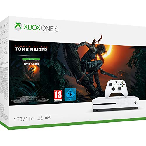 Xbox One S Console de jeu 4 K HDR avec « Shadow of the Tomb Ranger » Blanc 1 To