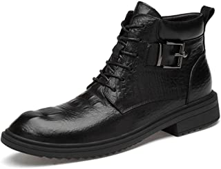SHENTIANWEI Combat Boots for Men Ankle Shoes Lace Up Style Metal Buckle Genuine Leather Round Toe Stitched Anti Slip Super Soft Waxy Shoelaces (Color : Black Wrinkle Fleece Lined, Size : 8.5 UK)