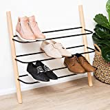 Wooden Shoe Rack Organizer - Modern Shoe Rack That Holds 12 Pairs of Shoes | Wooden Shoe Racks for Closets 3 Tier Could Be Used in the Kitchen, Entryway or Mudroom for Extra Storage (Beech, 3 Tier)