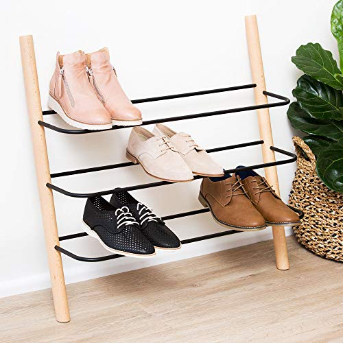 Wooden Shoe Rack Organizer - Modern Shoe Rack That Holds 12...