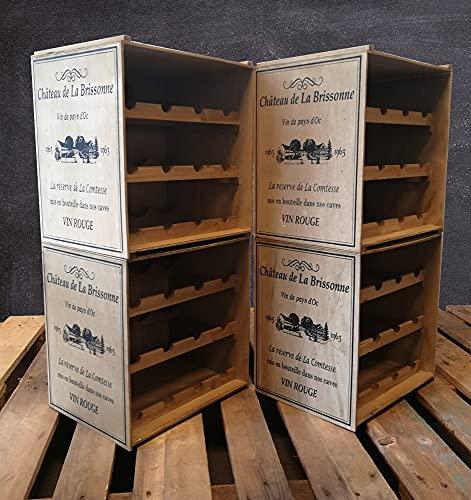 Design Holz Weinregal Shabby Chic Vintage stapelbar mit seitlichem Aufdruck für 12 Flaschen in Natur Flaschenregal Weinschrank Weinkiste Alternatives Holzregal Weinständer 38,5x30,5x41 cm