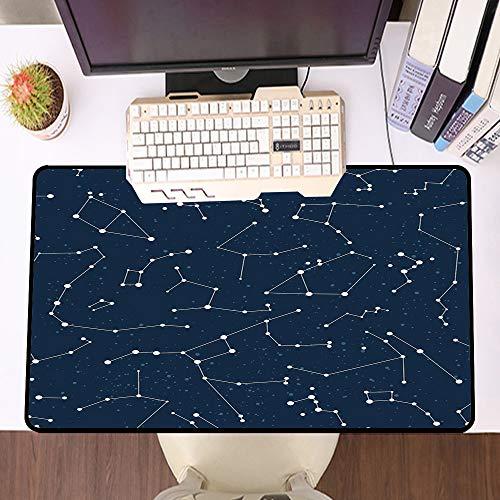 Übergroße Spiel Mauspad -Schreibtischunterlage Large Size,Sternbild, von der Milchstraße inspiriertes Muster mit Sternhaufen im Nachthimmel, Blau, Dunkelbl,und schnelle Maussteuerung,Gummiunterseite