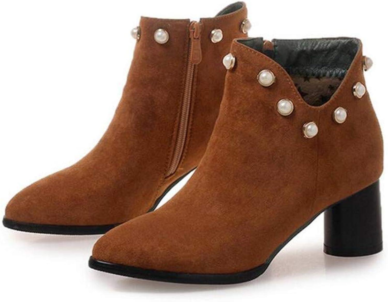 Coollight Women's Western Slip on Bootie - Low Stack Heel - Zip Up - Casual Ankle Boot