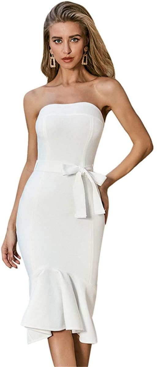 YonCog Ladies Evening Dress, Waistband, Tube Top, One Shoulder, Ladies Party Knit Dress Women's Club & Night Out Dresses (Color : White, Size : Medium)