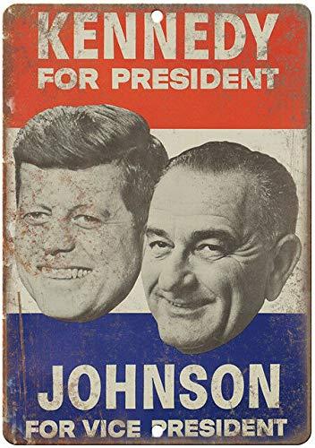 Cartel de metal de la campaña Jfk John F. Kennedy Johnson de 20 x 30 cm