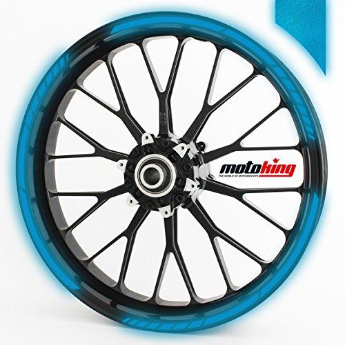 Motoking Autocollants pour Jante à 360 en Bleu foncé réfléchissantes/Tour Entier/de 10 à 14 Pouces