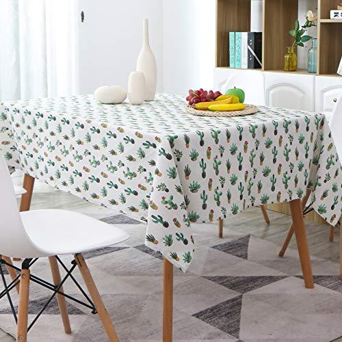 AOyEKXD Tischdecke Baumwolle Und Leinen Nordischen Stil Schwarz Und Weiß Geometrische Kaktus Fleisch Tischdecke Couchtisch Abdeckung Handtuch 55X79in-140X200 cm