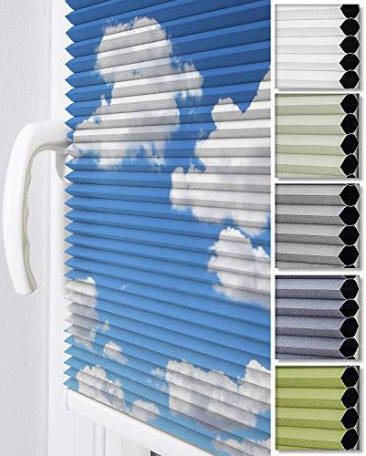 Home-Vision® Premium Doppelplissee Wabenplissee ohne Bohren mit Klemmträger / -fix (Weiß-Himmel, B85cm x H120cm) Zweifarbig Blickdicht Sonnenschutz Jalousie für Fenster & Tür