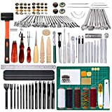 Lokunn 150 Pieces Leather Work Tools, Leathercraft Tools and Supplies with Leather Stamping Tools Leather Groover, Leather Rivets Kit for Leather Sewing Leather Working Tool Kit for Beginner