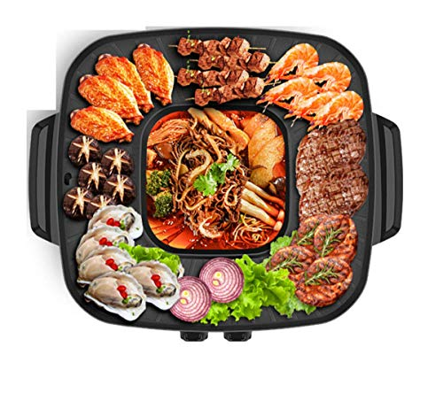 Electric BBQ Hot Pot Multifunktion Korean Style BBQ Poke Hot Pot Non-Stick Powerful Stovetop Grill Dual Pot