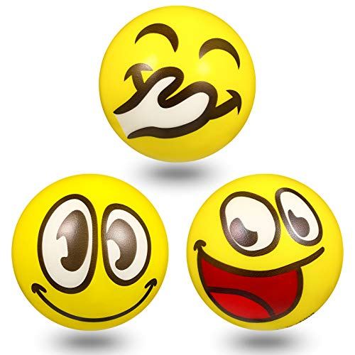 3 Pieces 4 Inch Jumbo Size Face Stress Balls, Funny Smile Foam PU Balls Novelty Big Toy Balls Yellow Soft Chuckle Stress Ball for Hand Wrist Finger Exercise Stress Relief Team Building Party Favor