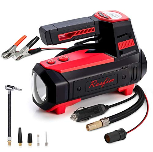 Rosfim Car Tire Inflator Portable Air Compressor with Digital Pressure Gauge LED Light 12V DC Auto Air Pump For Cars Bikes Balloons and Other Inflatables
