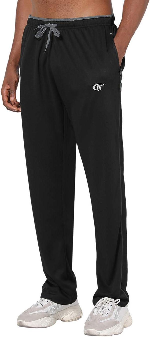 con bolsillos YuKaiChen Pantalones de ch/ándal para hombre Athletic Open Bottom de malla