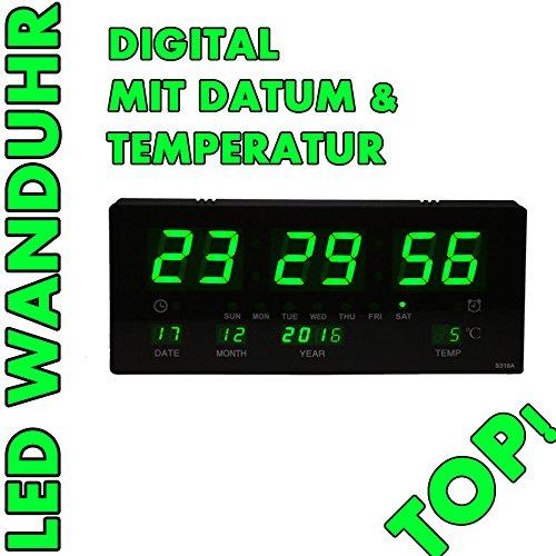 Noyan LED Uhr Led Wanduhr mit Datum und Temperatur Anzeige Digital, geeignet für Büro, Bar, Cafe UVM NEU (Grün)