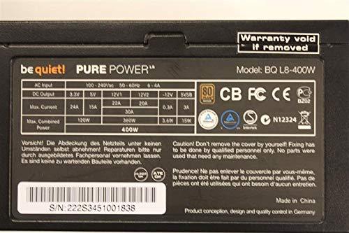 Marke: BeQuiet Be Quiet Pure Power L8 400W (BN222) ATX Netzteil 400 Watt 80+ #90697