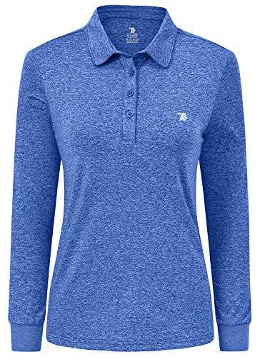 JINSHI Femme Polo Shirt à Manches Longues Sport Golf Tops d'hiver Bleu Ciel M