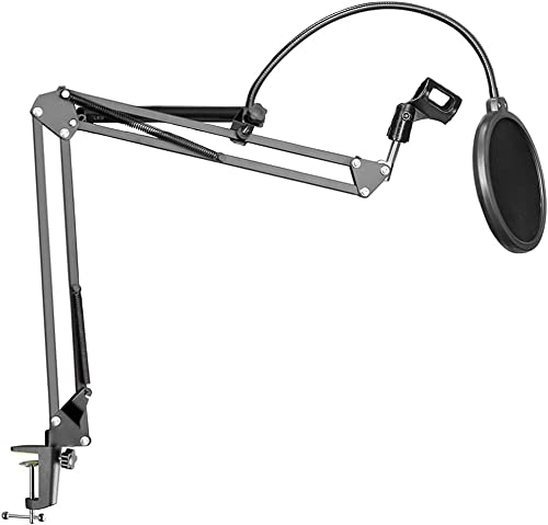 TECHBLAZE Professional Recording Microphone Stand with Pop Filter Best Bm800 Mic Stand For Condenser Mic Boom Suspension Scissor Arm Gaming Mic Stand with Pop Filter Studio Microphone Stand Black
