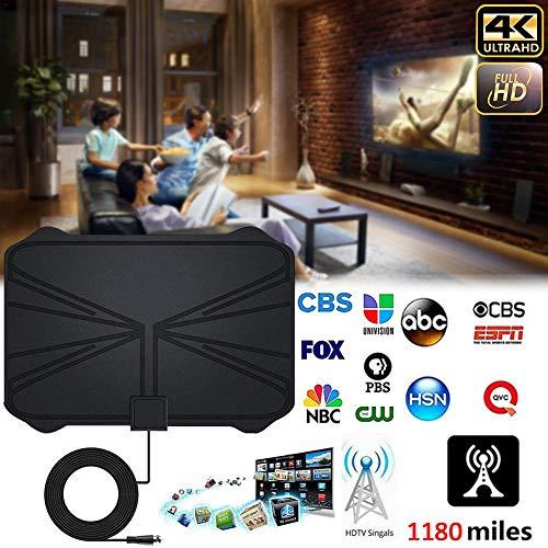 libelyef Antena de TV 1180 Millas 4K HDTV Digital TV Interior Antena con Amplificador Amplificador de señal Radio de TV Surf Fox Antena Free View Canales HD-335 X 235 X 0.6 mm