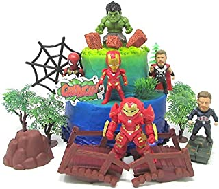 Avengers Super Hero Themed Birthday Cake Topper Set Featuring Hulk, Thor, Iron Man and Decorative Themed Accessories