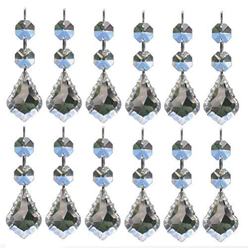 E EBETA 20Pcs Ahornblatt Prisma Kristall Anhänger Kristallglas Kronleuchter Tropfen Sonnenfänger mit 2 Achteckig Perlen für Vorhang Lampe Garten Party Weihnachten Hochzeit Decor