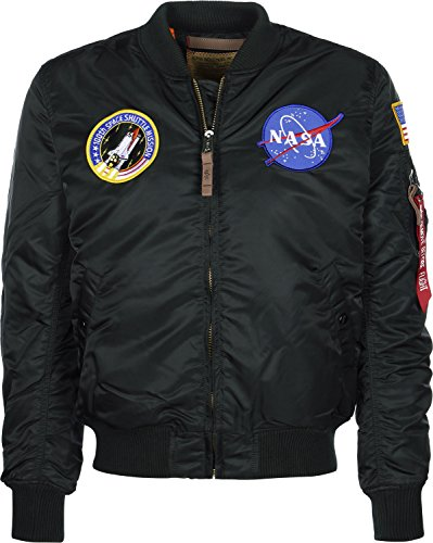 Alpha Industries Herren MA-1 VF NASA Bomberjacke, Schwarz (Black 03), Large
