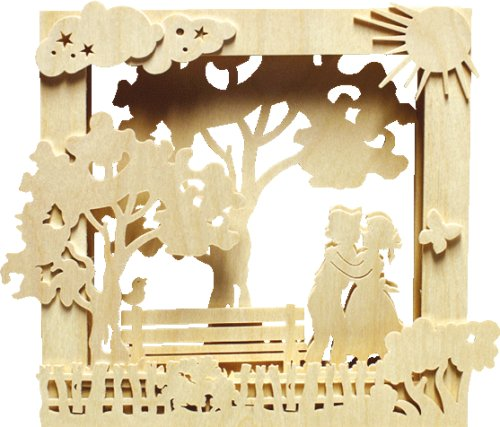 alles-meine.de GmbH Holz Bastelset 3-D - Fensterbild / Bilderrahmen Sommer - komplett ausgesägt / zum selber basteln - Echt Erzgebirge Deko für Wei..