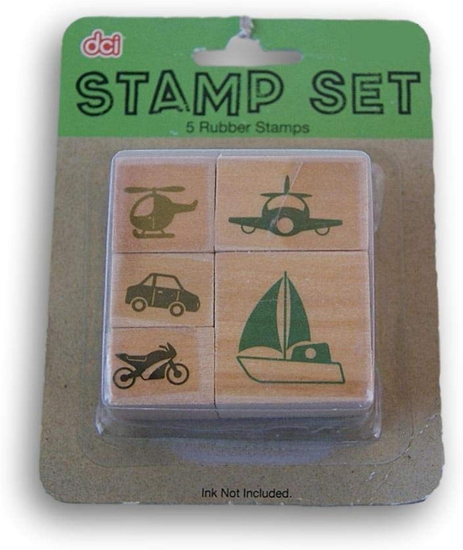 Miniature Rubber Stamp Set - Vehicles - 5 Piece