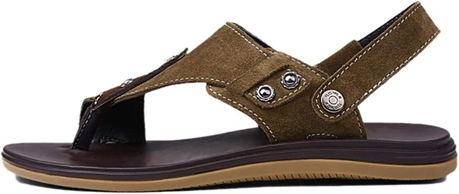 Yingsssq Men's Summer Flip Flops Casual Leather Sandals (Two Types of Tees) (color   Khaki, Size   37)