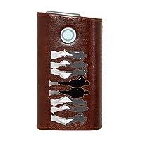 glo グロー グロウ 専用 レザーケース レザーカバー タバコ ケース カバー 合皮 ハードケース カバー 収納 デザイン 革 皮 BROWN ブラウン ユニーク 人物 シンプル 002604
