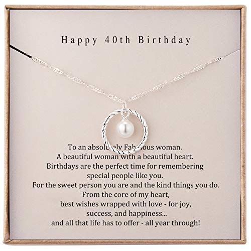 Happy 40th Birthday Gifts for Her Sterling Silver Necklace 40th Birthday Gifts for Women Turning 40...
